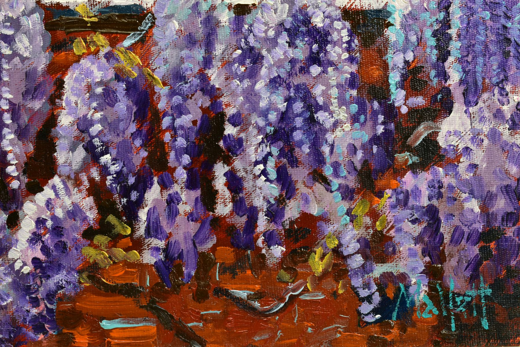 TIMMY MALLETT (BRITISH CONTEMPORARY), 'Wisteria Window', an impressionist study of flowers, signed - Image 3 of 5