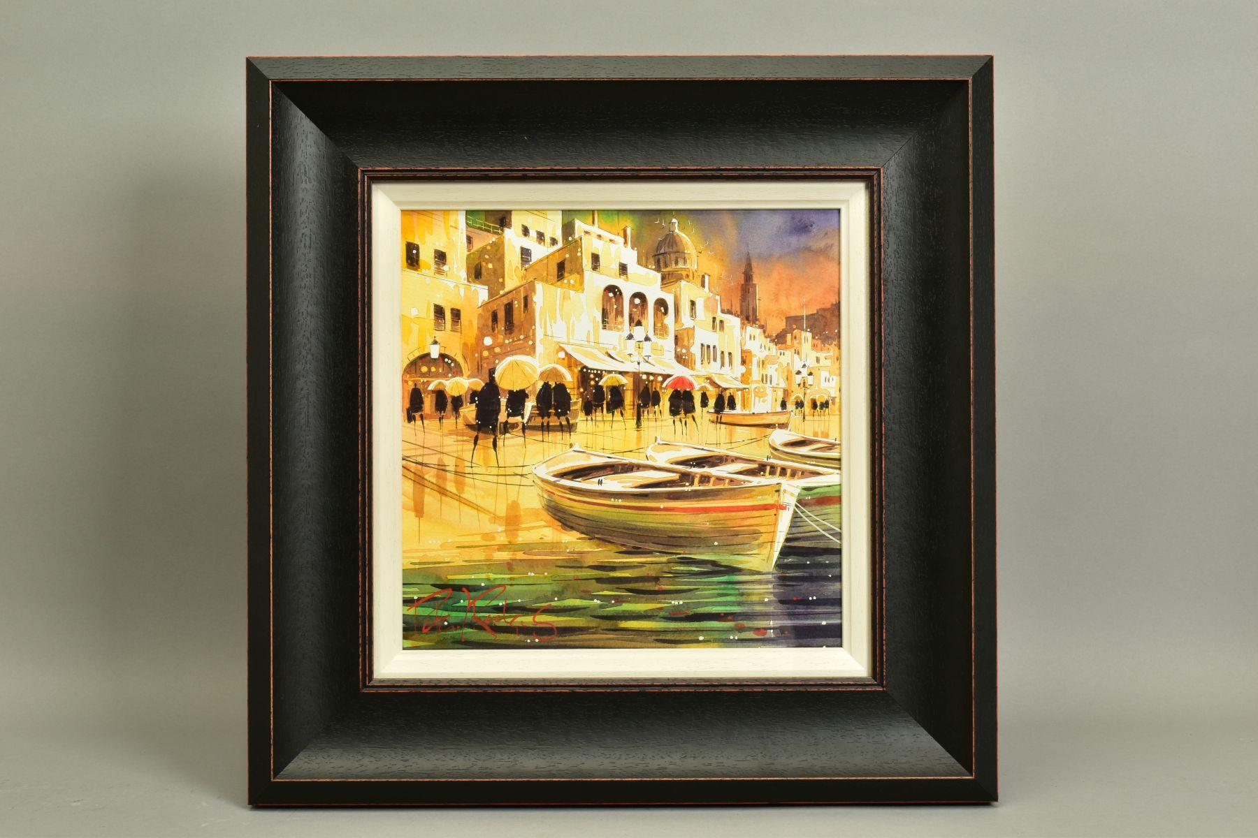 PETER J. RODGERS (BRITISH CONTEMPORARY), 'Reflections, Naples', an Italian Promenade on a rainy