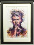DANIEL MERNAGH (BRITISH CONTEMPORARY), 'She Says Shhhh', a Limited Edition print of a David Bowie