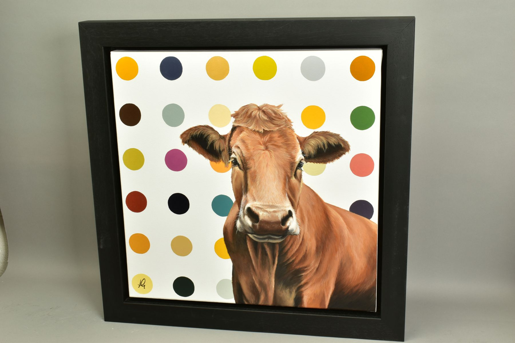 HAYLEY GOODHEAD (BRITISH CONTEMPORARY), 'Ginger', a portrait of a Jersey Cow against a spotted - Image 4 of 5