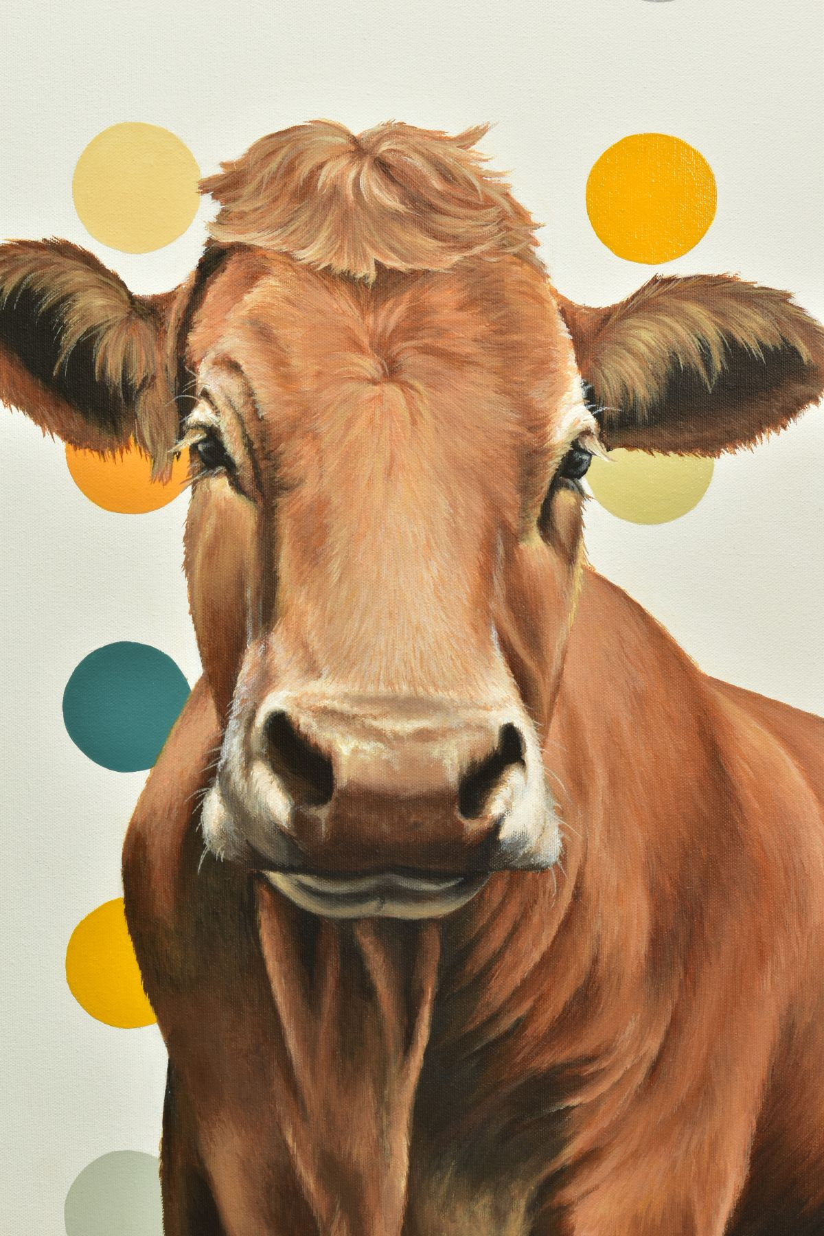 HAYLEY GOODHEAD (BRITISH CONTEMPORARY), 'Ginger', a portrait of a Jersey Cow against a spotted - Image 2 of 5