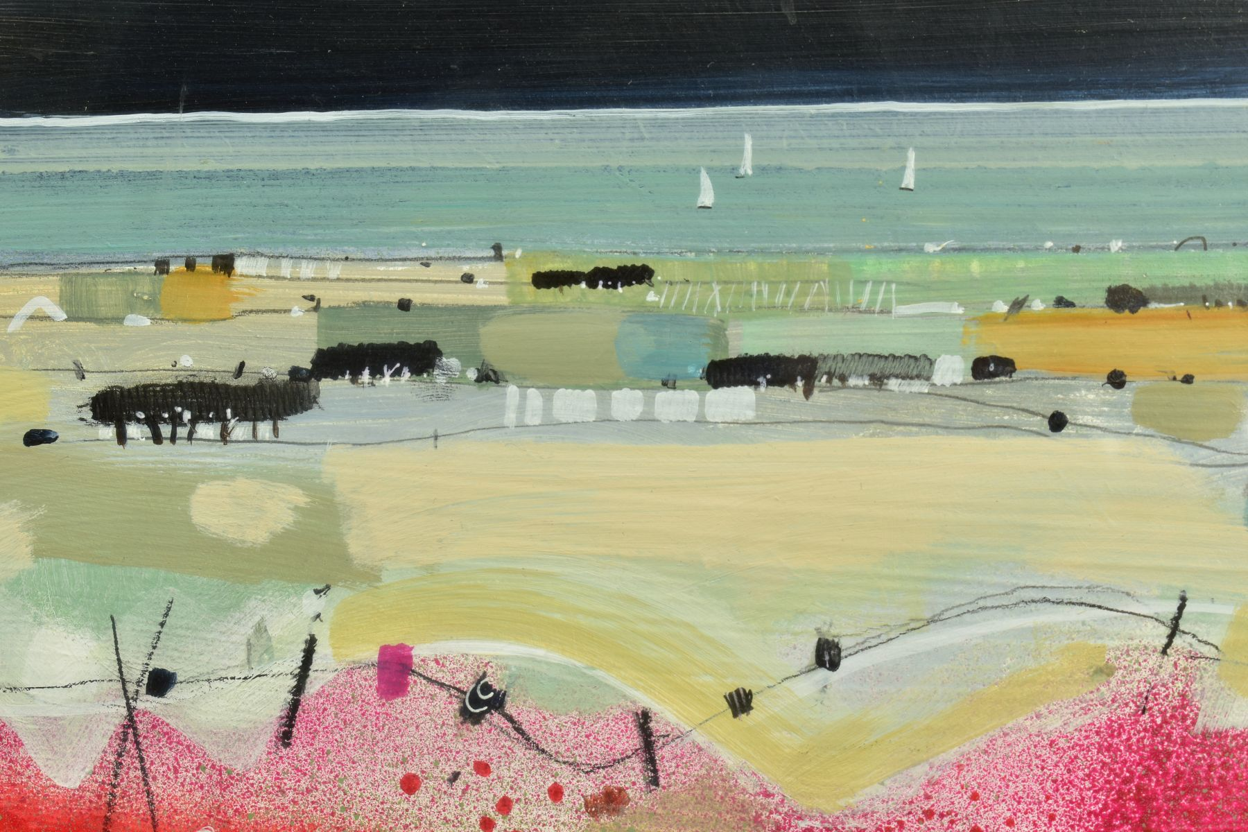 EMMA S. DAVIS (SCOTTISH 1975), 'East Coast Sail', a field of wild flowers, sailing boats beyond, - Image 3 of 7