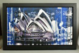 KRIS HARDY (BRITISH 1978), 'Sydney Opera House at Night', signed bottom right, mixed media on