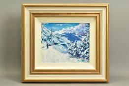 TIMMY MALLETT (BRITISH CONTEMPORARY), 'Winter Fun', an impressionist Alpine scene with skiers,