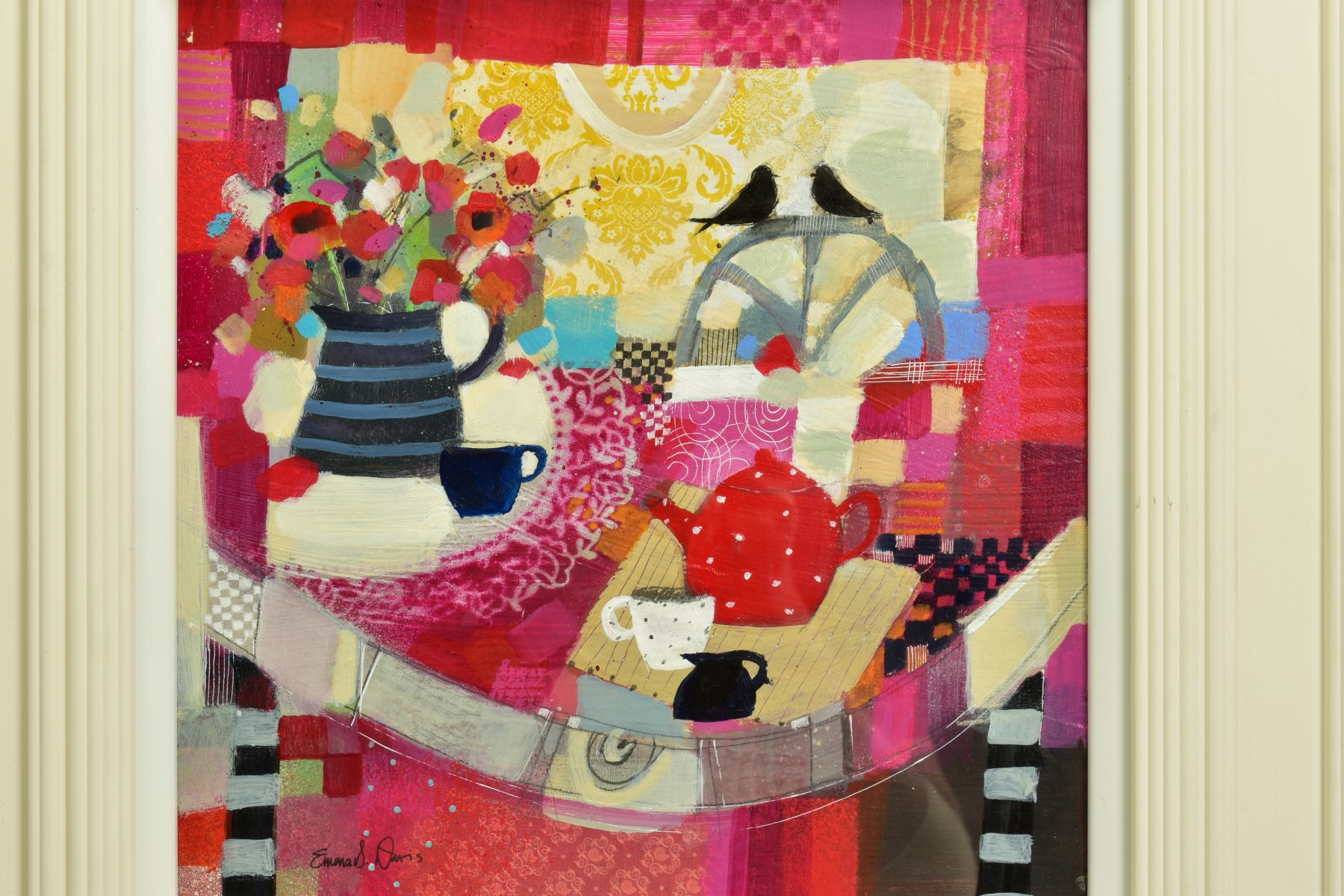 EMMA S. DAVIS (SCOTTISH 1975), 'Tabletop Textiles' a colourful still life study, signed bottom left, - Image 2 of 6