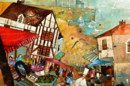 RICHARD BUREL (FRANCE 1974), 'Au Bon Accueil', a restaurant and market by a French harbour, signed