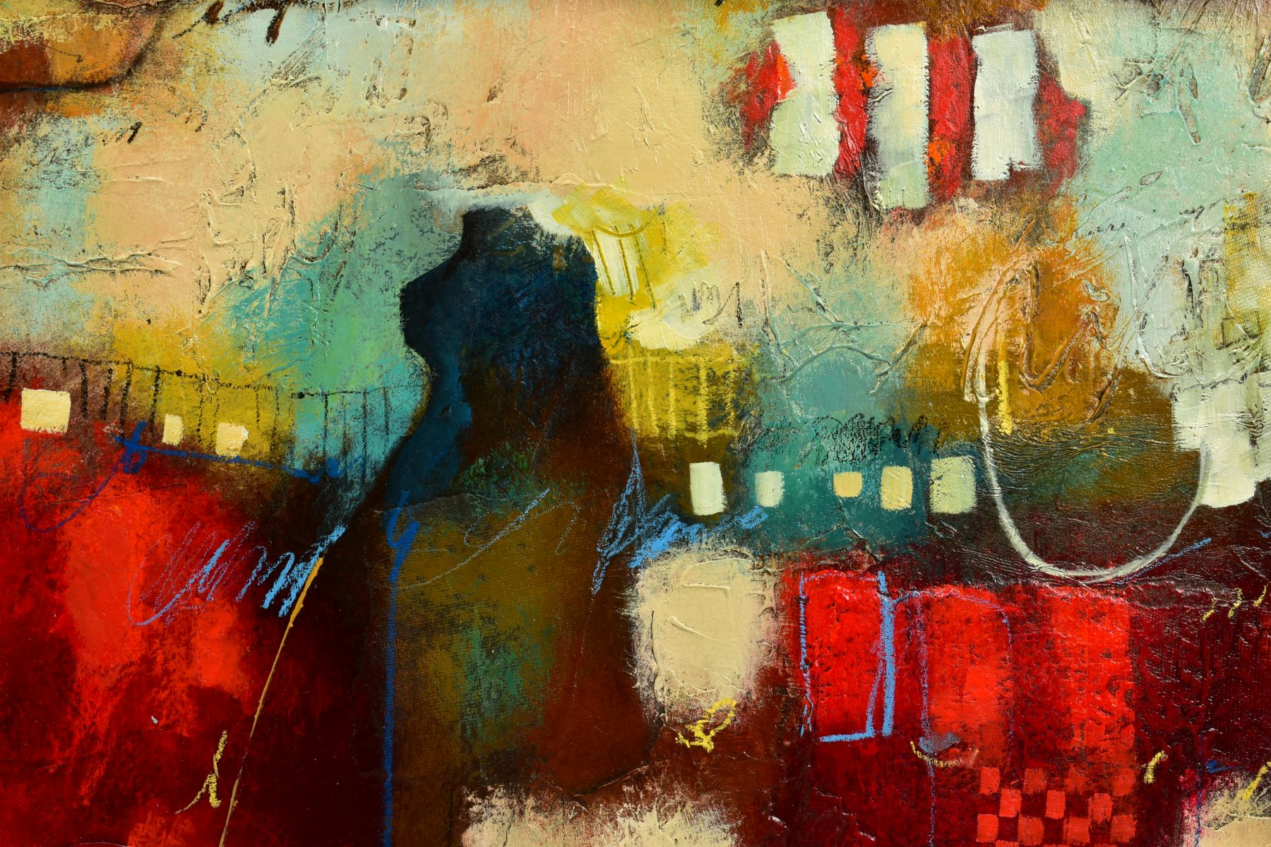 JOHN AND ELLI MILAN (AMERICAN CONTEMPORARY), 'Red Montage', a colourful abstract from the husband - Image 2 of 6