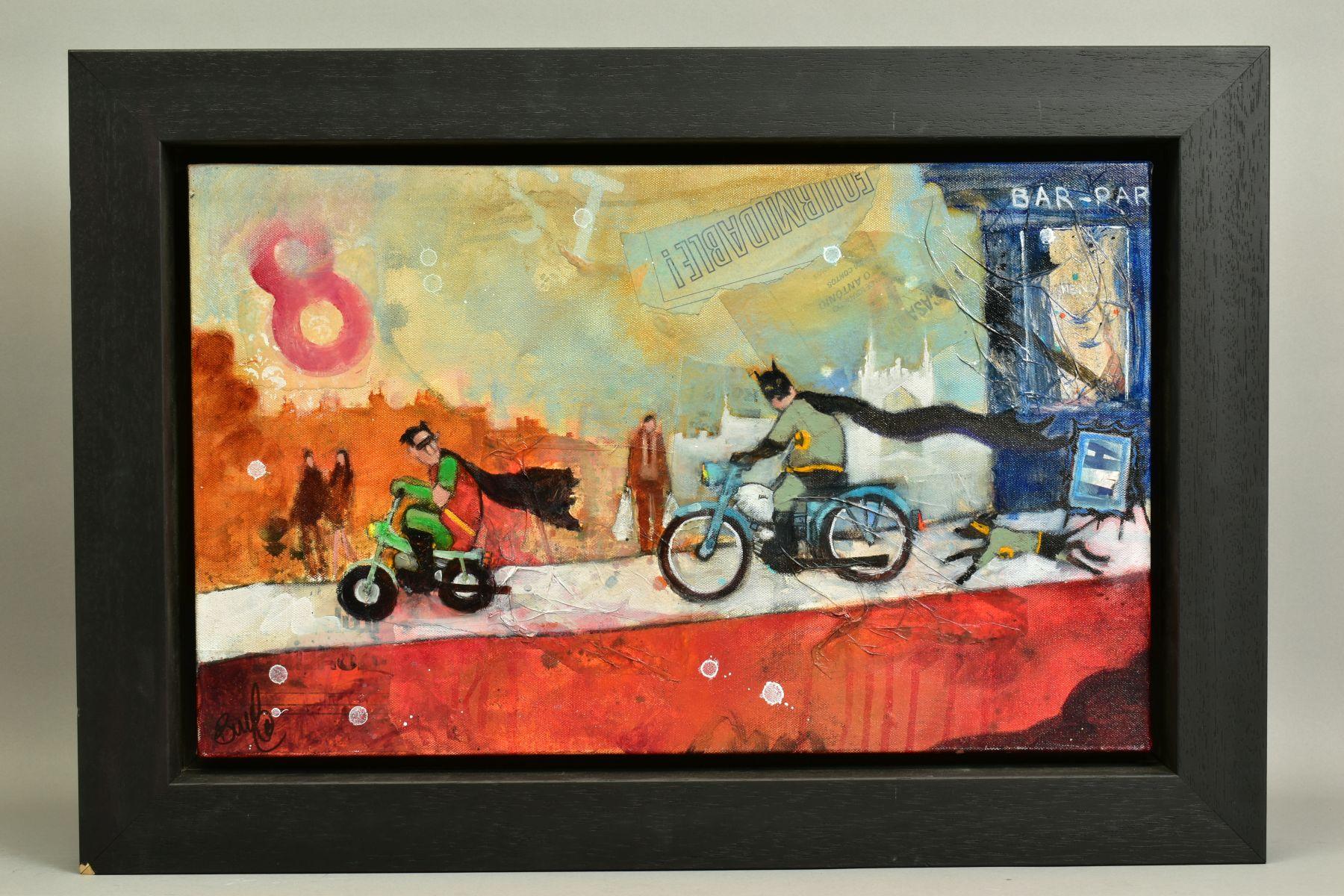 RICHARD BUREL (FRANCE 1974), 'Batman & Robin', the comic super heroes riding mopeds, signed bottom