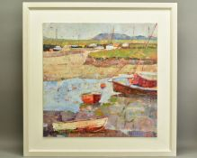 SALLY ANNE FITTER (BRITISH CONTEMPORARY), 'Low Tide at Wells', sailing boats in an estury, signed to