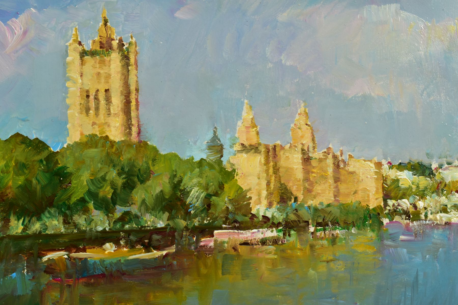 HELIOS GISBERT (SPANISH 1958), 'The Thames, London II', an impressionist view of a London skyline, - Image 3 of 5