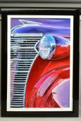 ROZ WILSON (BRITISH CONTEMPORARY), 'Red and Purple Buick', a study of a classic American car, signed