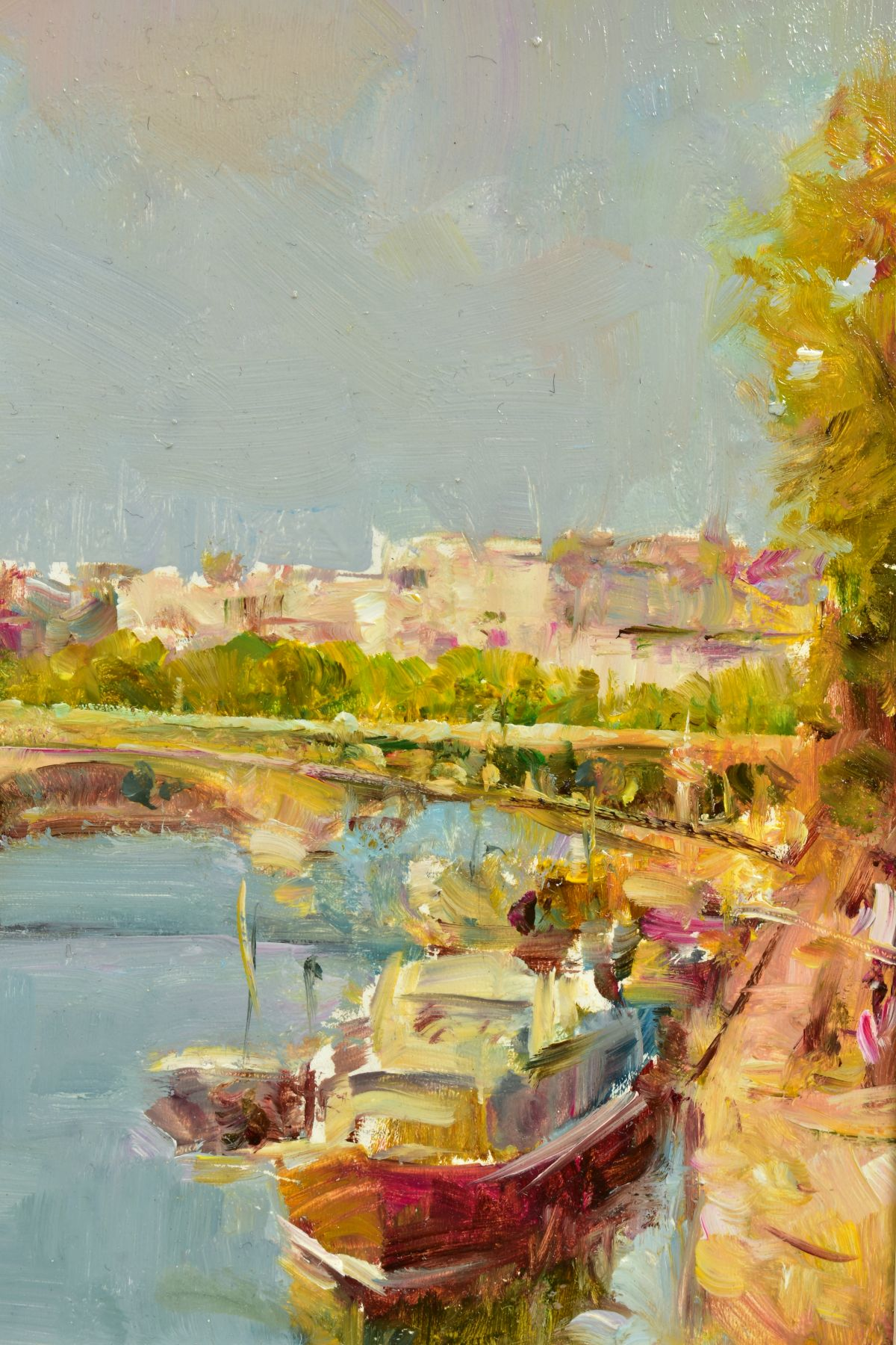 HELIOS GISBERT (SPANISH 1958), 'Parisian Summer', an impressionist view of Paris, signed bottom - Image 3 of 6