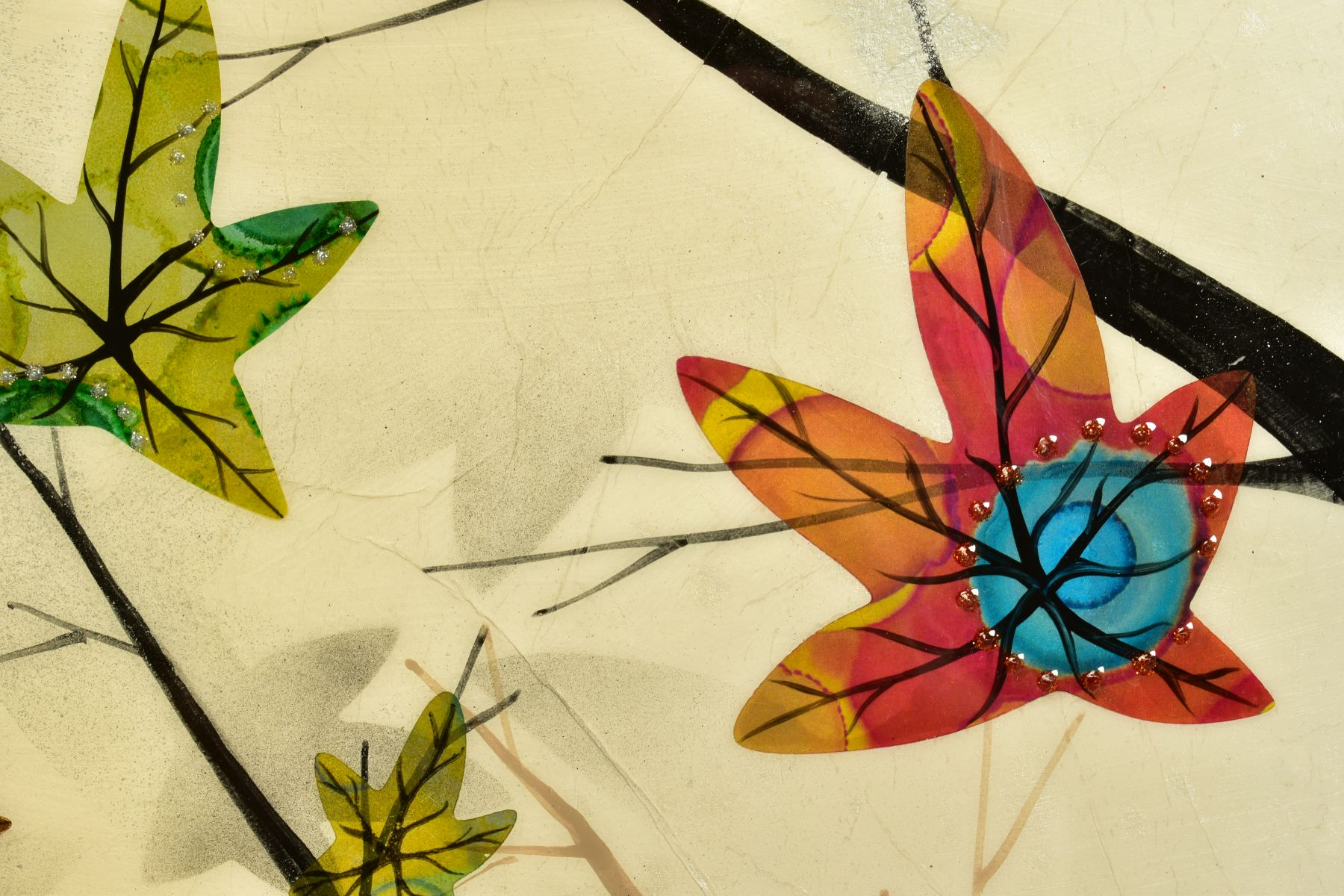 CHLOE NUGENT (BRITISH CONTEMPORARY), 'Woodland Jewels VI', colourful leaves falling from trees, - Image 4 of 6