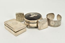 A SELECTION OF ITEMS, to include a silver and tortoiseshell trinket box of circular design, with