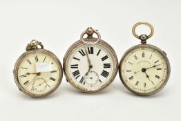 TWO OPEN FACED POCKET WATCHES, A SILVER CASE AND MOVEMENT, the first with a cream dial, Roman