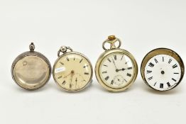 TWO SILVER OPEN FACED POCKET WATCHES AND ONE OTHER, the first with a white dial, Roman numerals,