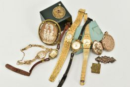 A SELECTION OF ITEMS, to include five ladies wristwatches such as a 9ct gold cased watch, silver