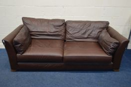 A MARKS AND SPENCERS BROWN LEATHER THREE SECTION SETTEE, width 130cm x depth 96cm x height 68cm