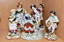 A PAIR OF LATE 19TH CENTURY JOHN BEVINGTON PORCELAIN FIGURES OF BOY AND GIRL GARDENERS, holding