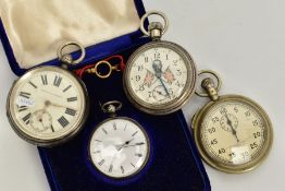 THREE POCKET WATCHES AND A STOP WATCH, to include a silver open faced watch, white dial, Roman