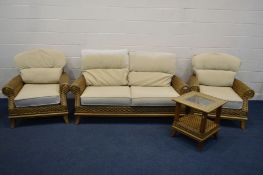 A FOUR PIECE CONSERVATORY SUITE, cream cushions, comprising a two seat settee, two armchairs and
