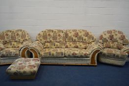 A PINE AND UPHOLSTERED FOUR PIECE LOUNGE SUITE, comprising a two seater settee, armchair, a swivel