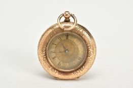 A LADY'S HALF HUNTER POCKET WATCH, the yellow metal watch, with an engine turn and floral engraved