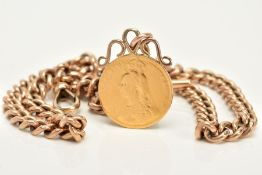 A FULL SOVEREIGN PENDANT AND 9CT GOLD ALBERT CHAIN, the very worn and rubbed full sovereign,