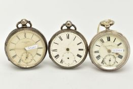 THREE SILVER OPEN FACED POCKET WATCHES, to include an 'R. Wallwork', cream dial, Roman numerals,
