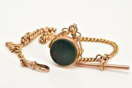 A 9CT GOLD ALBERT CHAIN AND FOB, the swivel fob of circular design, swivels to reveal bloodstone and