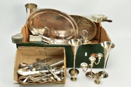 A SELECTION OF ITEMS, to include an oval silver plate on copper floral and scroll embossed tray,