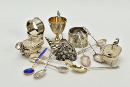 A QUANTITY OF SILVER ITEMS, to include a set of six Victorian teaspoons, designed with a shell bowl,