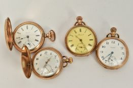 FOUR GOLD PLATED POCKET WATCHES, to include a full hunter 'Waltham' white dial, Roman numerals,