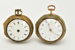 TWO EARLY 19TH CENTURY GILT METAL PAIR CASED POCKET WATCHES, a shagreen pair cased verge pocket by