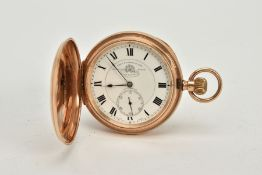 A 9CT GOLD FULL HUNTER POCKET, white dial signed 'Tho's Russell & Son, Liverpool' roman numerals,