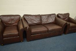 A MARKS AND SPENCERS BROWN LEATHER THREE PIECE SUITE, comprising a two seater settee, width 194cm