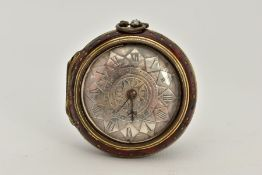 AN EARLY 19TH CENTURY GILT METAL AND TORTOISESHELL PAIR CASED VERGE POCKET WATCH by J W Lancaster,