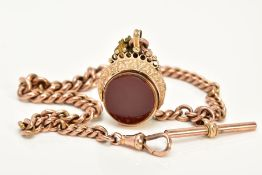 A 9CT GOLD ALBERT CHAIN WITH SWIVEL FOB, the fob of circular design, swivels to reveal bloodstone