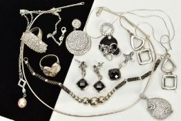A COLLECTION OF WHITE METAL ASSORTED JEWELLERY ITEMS, to include a large cubic zirconia dress