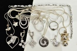 A COLLECTION OF WHITE METAL ASSORTED JEWELLERY ITEMS, to include cubic zirconia pendants, a cubic