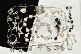 A COLLECTION OF WHITE METAL ASSORTED JEWELLERY ITEMS, to include assorted cubic zirconia stud and