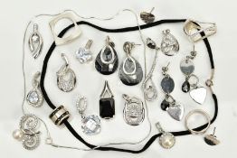 A COLLECTION OF WHITE METAL ASSORTED JEWELLERY ITEMS to include several fancy cubic zirconia