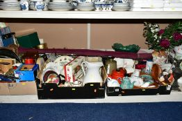 EIGHT BOXES AND LOOSE KITECHENALIA, HOUSEHOLD SUNDRIES, CERAMICS, BOOKS, ETC, including a carbuoy,