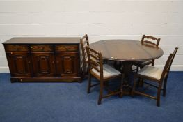 AN OAK GATE LEG TABLE, four ladder back chairs together with an oak sideboard (6)