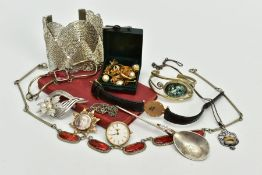 AN ASSORTED SELECTION OF COSTUME JEWELLERY, to include a wide white metal cuff bangle, a white metal