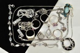 A COLLECTION OF WHITE METAL ASSORTED JEWELLERY ITEMS, to include six gemset rings, cubic zirconia,