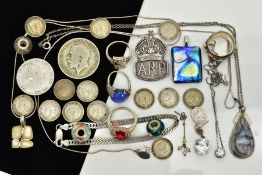 AN ASSORTED SELECTION OF JEWELLERY AND ITEMS, to include a silver A.R.P. Button medal, hallmarked