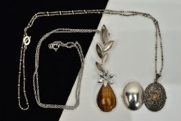TWO SILVER PENDANT NECKLACES, the first designed with a tiger eye and mother of pearl floral drop