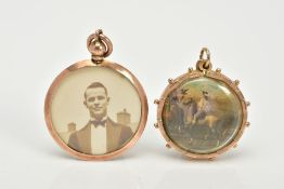 TWO DOUBLE SIDED PENDANTS, the first of a rose gold circular design, two photos within a plain