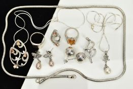 A COLLECTION OF WHITE METAL ASSORTED JEWELLERY ITEMS to include an orange crystal and cubic zirconia